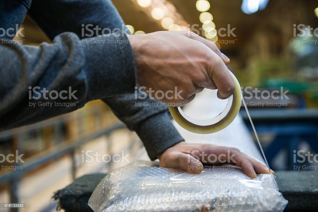 Man working a warehouse stock photo