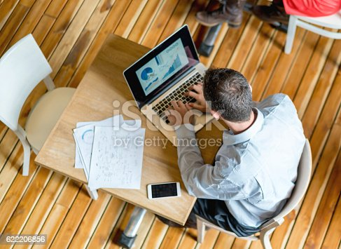 istock Man working at a cafe 622206856