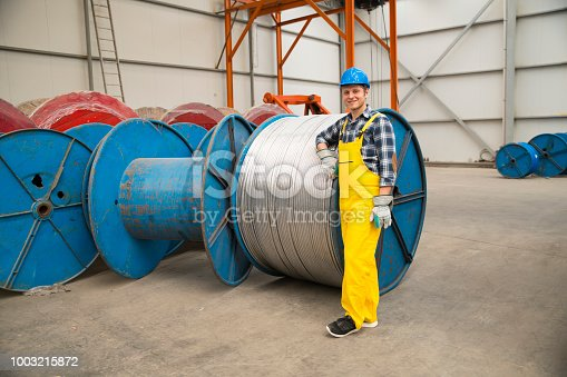 Man working at a factory.