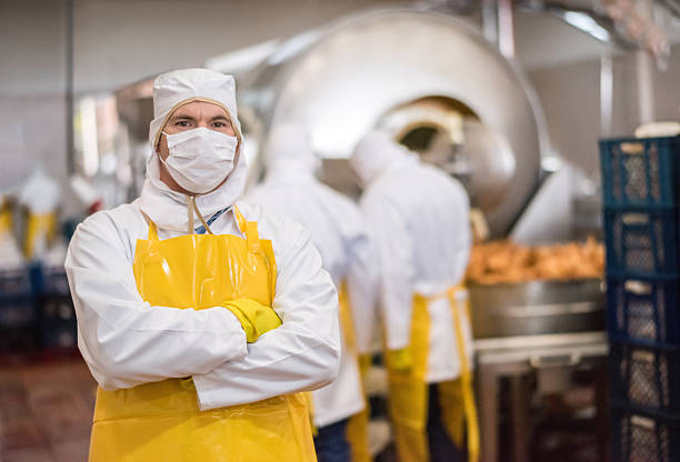 Man working at a food factory Man working at a factory wearing full uniform with hat, gloves and apron food warehouse stock pictures, royalty-free photos & images