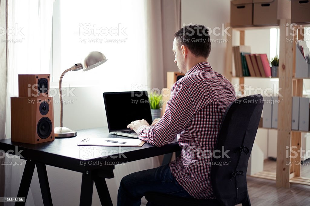 Man working at home office. royalty-free stock photo