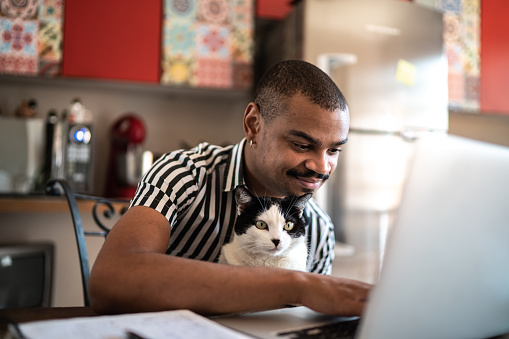 Man working at home with his domestic cat