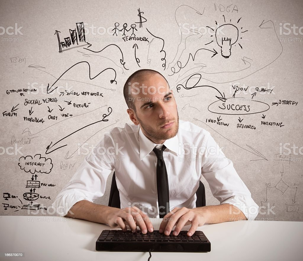 Man working at keyboard with pointing slogans on white board royalty-free stock photo