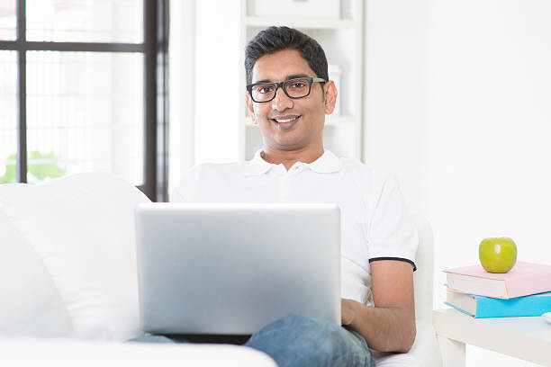 Man working from home concept stock photo