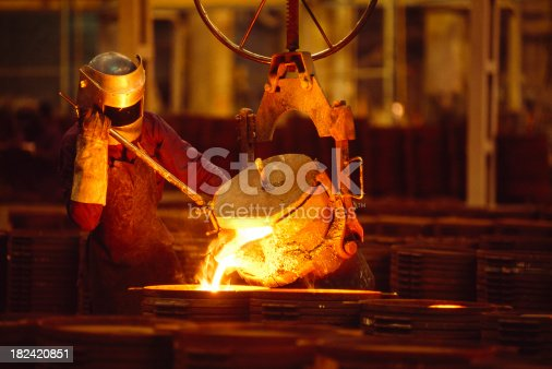 Man Pouring Glowing Metal Alloy