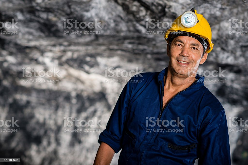 Man working in a mine stock photo