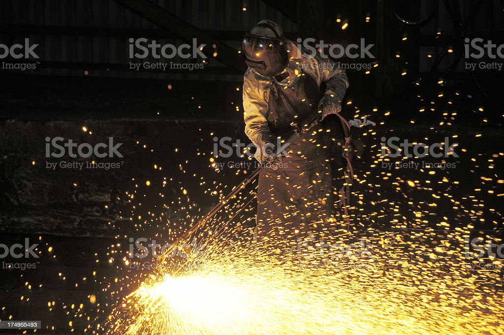Man working in a siderurgy stock photo