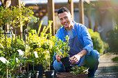 istock Man working in garden center 866538730