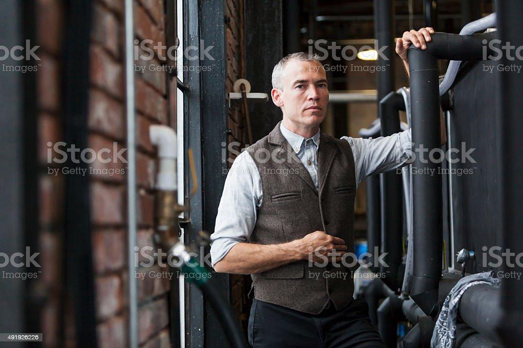 Man working in old distillery