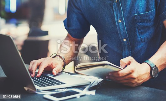 istock Man Working Laptop Connecting Networking Concept 524031684