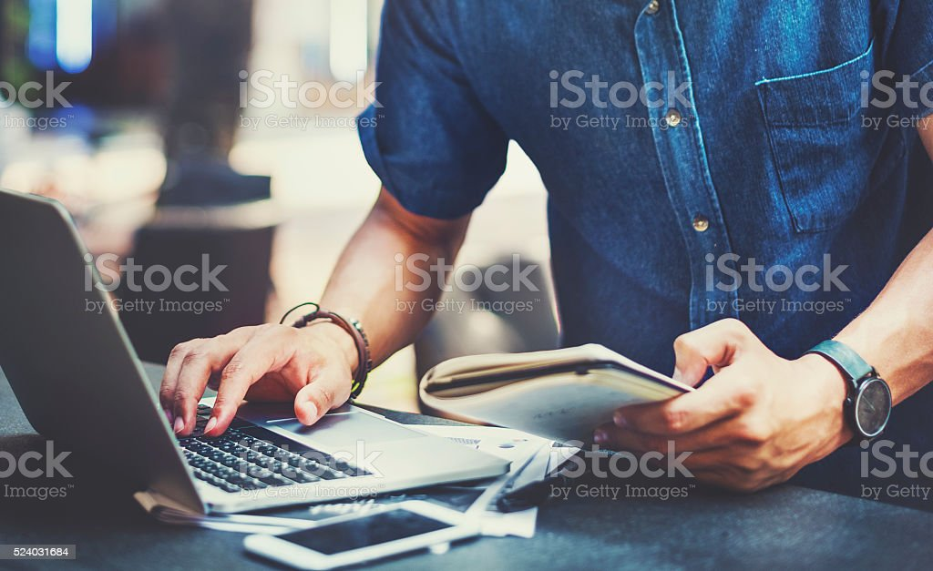 Man Working Laptop Connecting Networking Concept stock photo