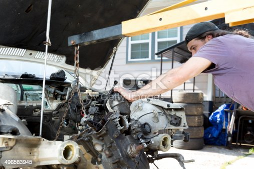 498879174 istock photo Man Working on a Car 496583945