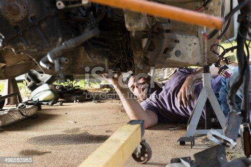 498879174 istock photo Man Working on a Car 496583953