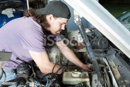 498879174 istock photo Man Working on a Car 496583961