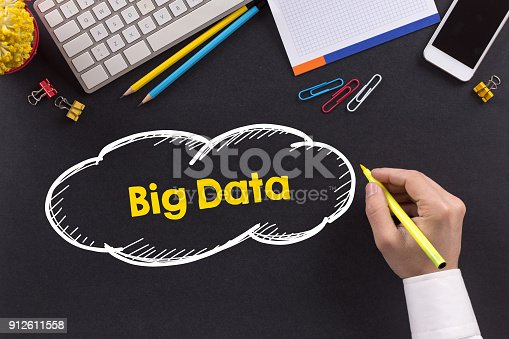 917307226istockphoto Man working on desk and writing Big Data 912611558