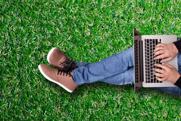 mann arbeitet auf laptop  - garden types stock-fotos und bilder