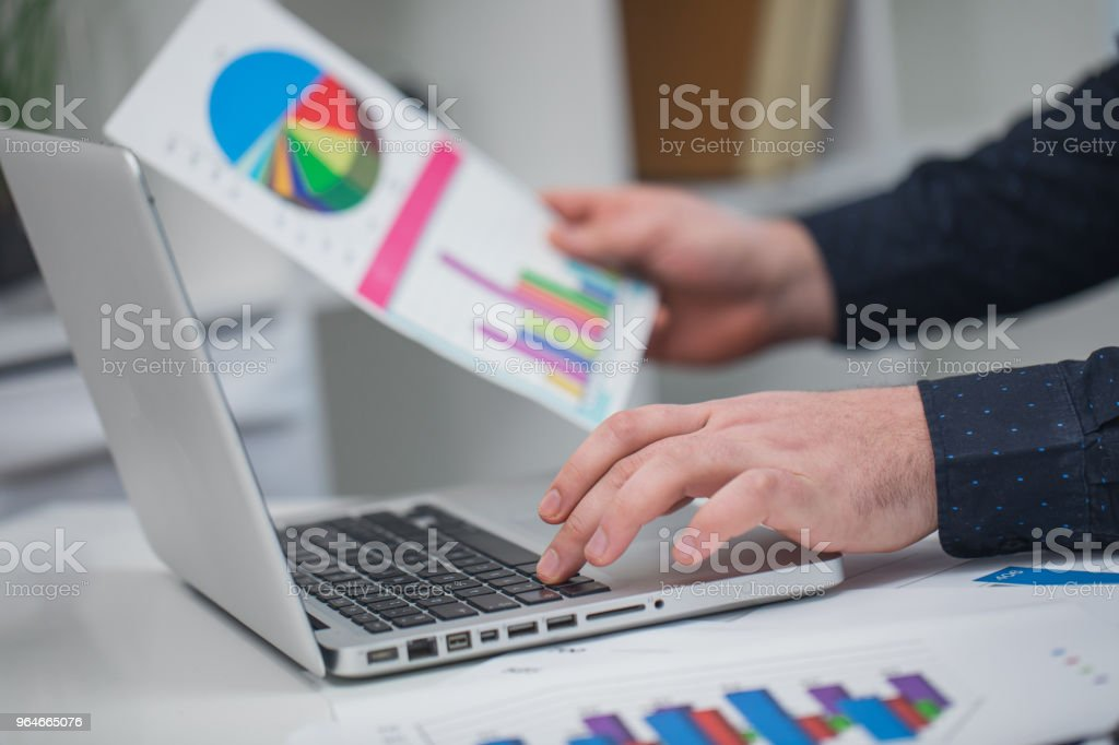 Man working on laptop royalty-free stock photo