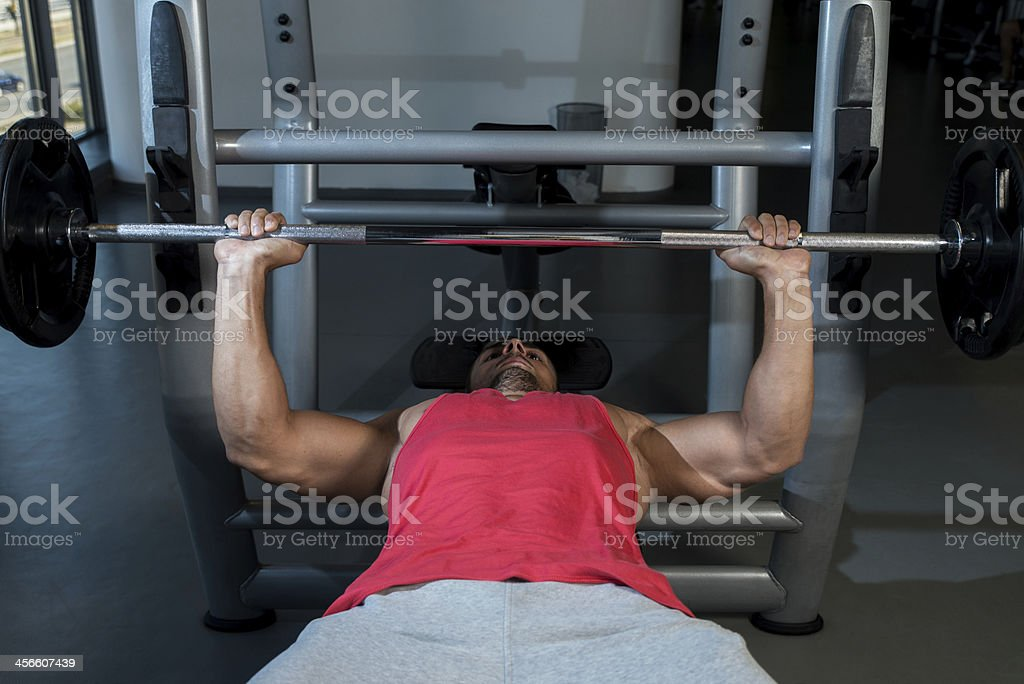 Man Working Out in the Gym stock photo