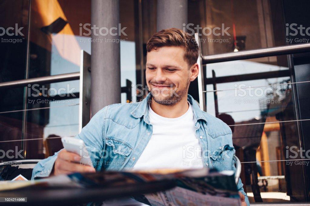 man working outdoors stock photo