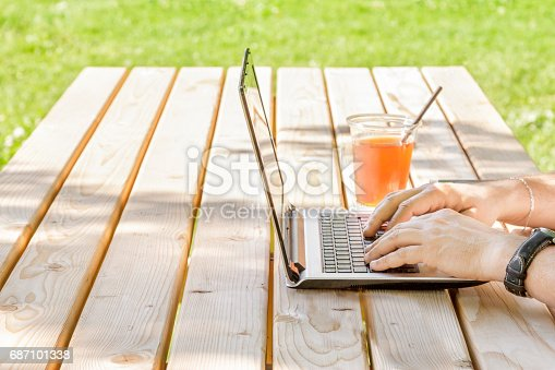 927814202istockphoto Man working outdoors with laptop 687101338