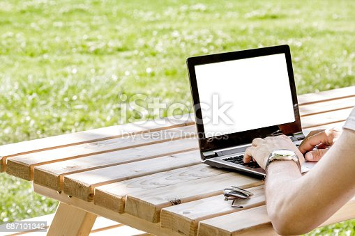 927814202istockphoto Man working outdoors with laptop 687101342