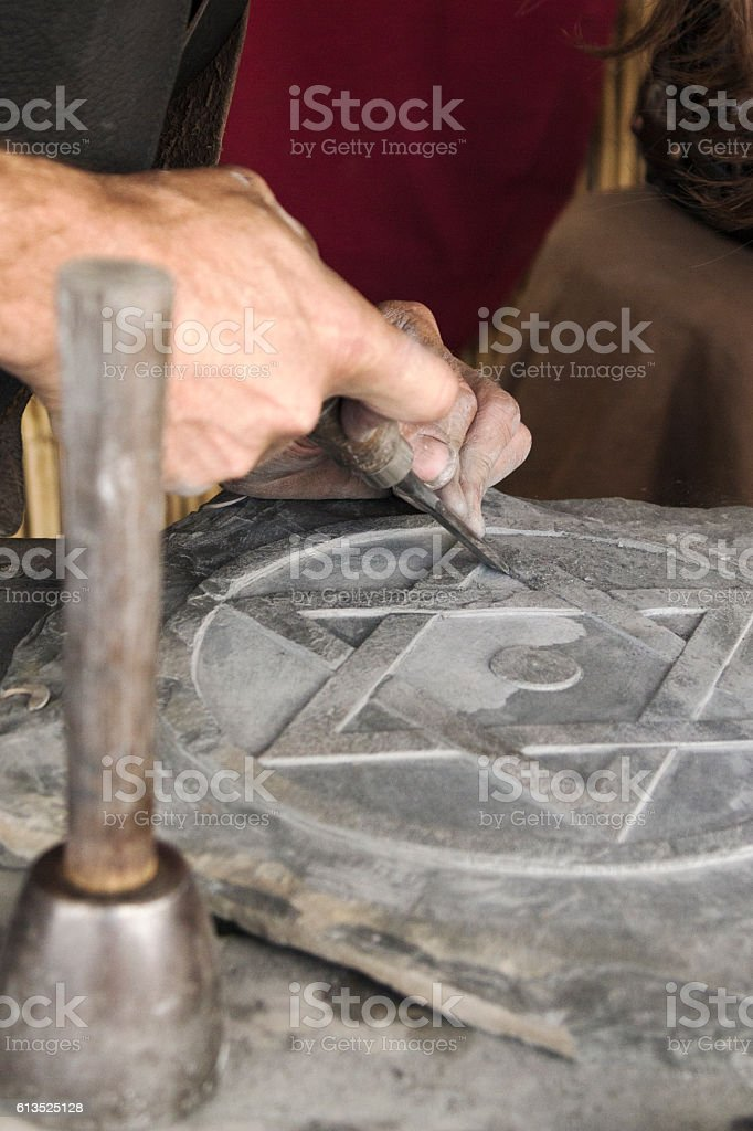 Man Working Stone And Tools Stock Photo & More Pictures of