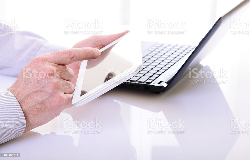 Man Working W Digital Tablet royalty-free stock photo