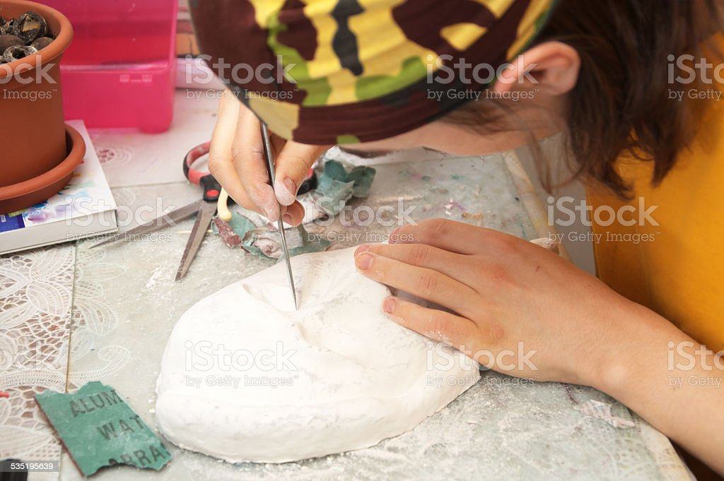 Man working with face mask stock photo