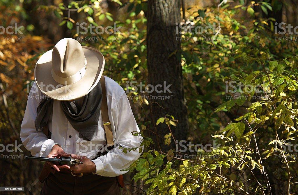 Man Working with Gun stock photo
