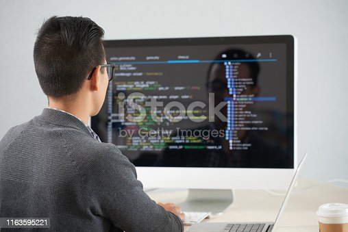 872006502 istock photo Man working with new application 1163595221