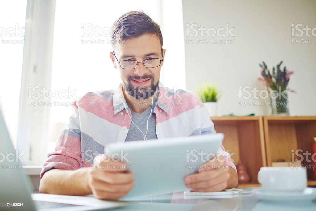 Man working with touchpad stock photo
