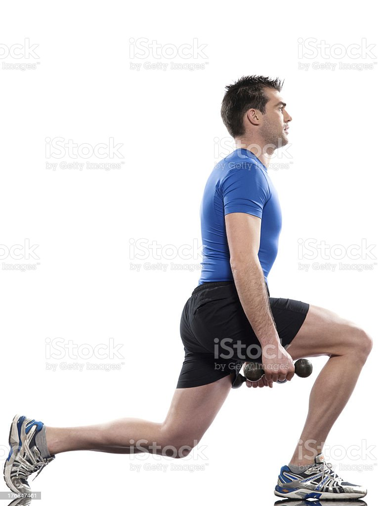 man workout posture Body Building Exercises weight training royalty-free stock photo