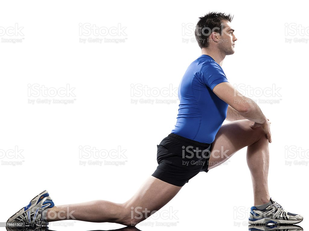 man Workout Posture fitness exercise kneeling stretching legs royalty-free stock photo