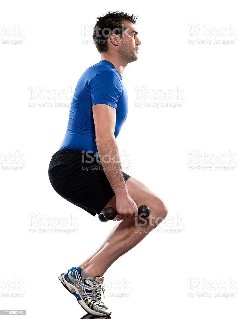 man workout squat exersice royalty-free stock photo