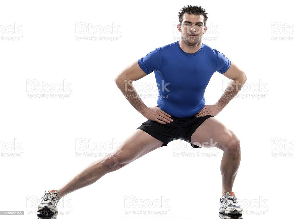 man workout streching posture stock photo