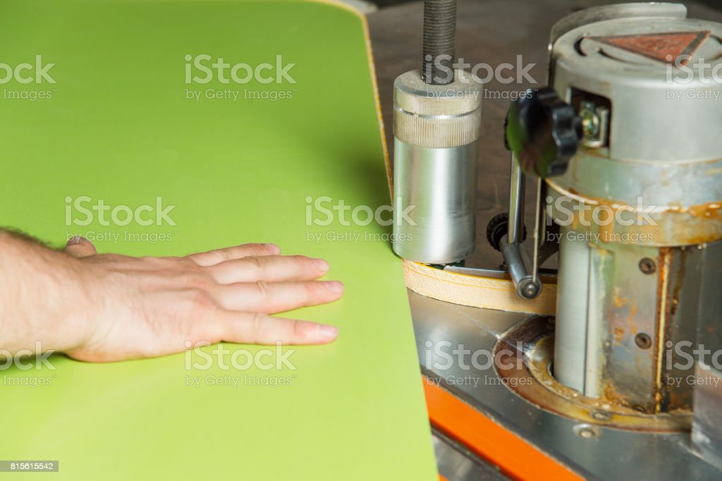 Man Works For Edge Banding Machine Stock Photo - Download