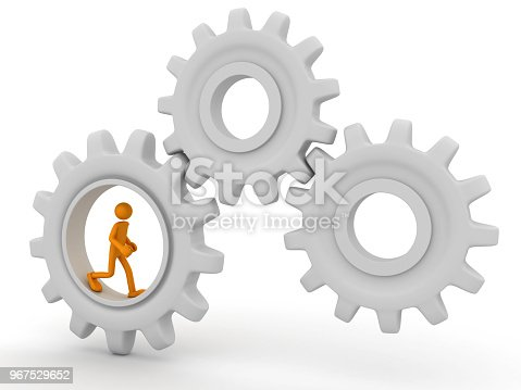 istock Man works in the middle of the gear 967529652
