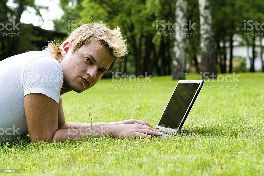 man works on laptop royalty-free stock photo