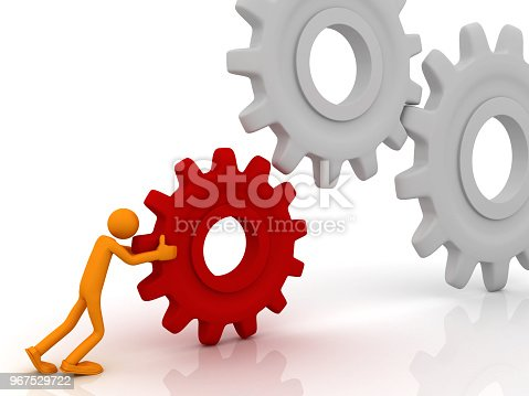 istock Man works with mechanisms 967529722