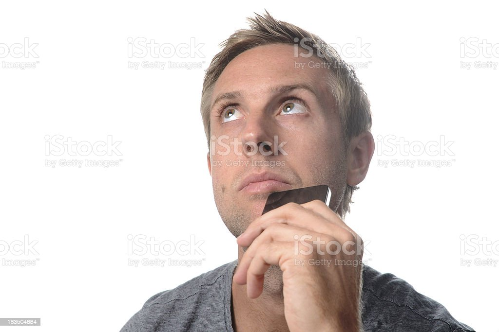 man worried and thinking royalty-free stock photo