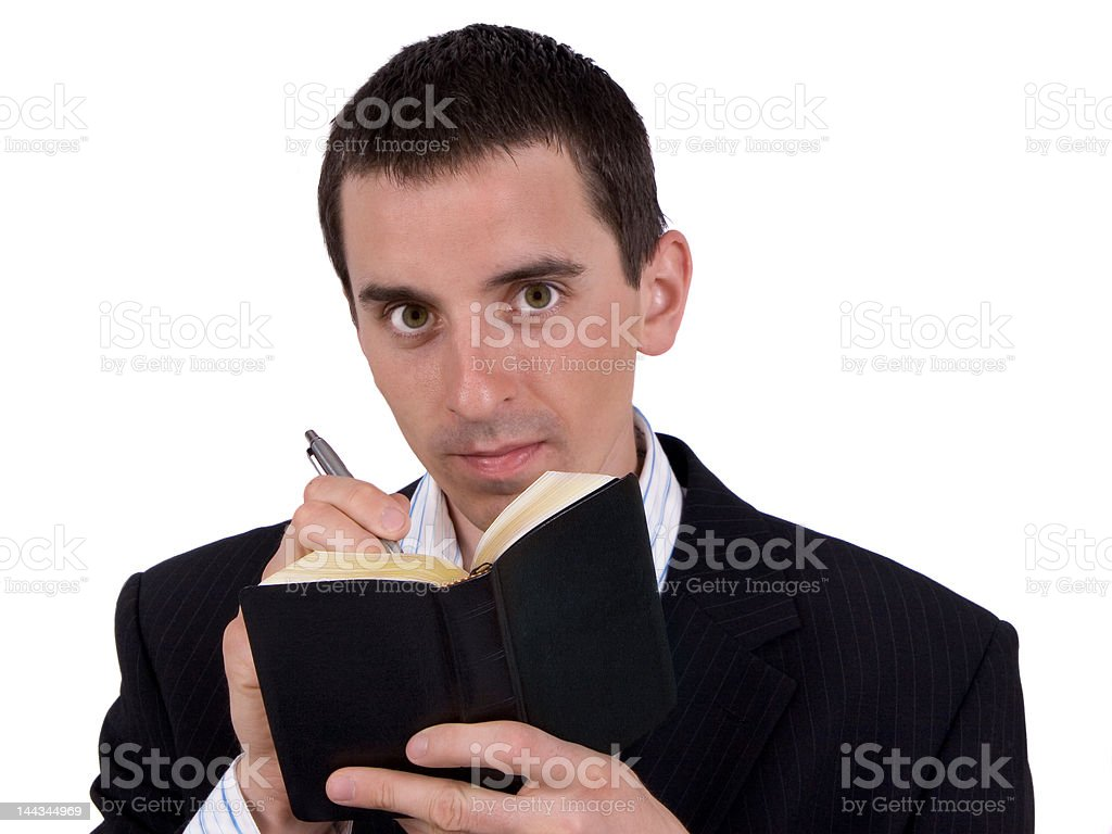 Man write in gold notes royalty-free stock photo