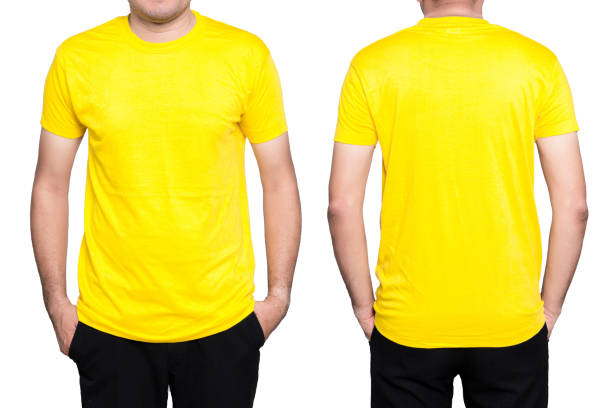 Man Yellow T Shirt Stock Photo