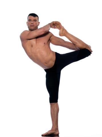 man yoga asanas natarajasana dancer pose stock photo