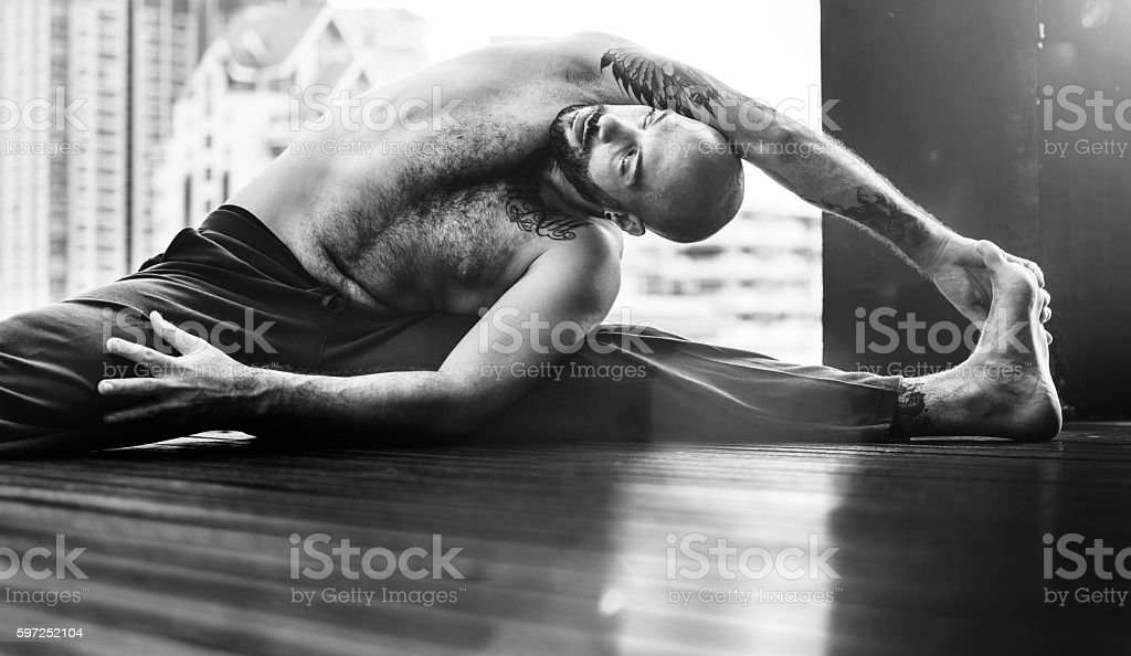 Man Yoga Practice Pose Training Concept Man Yoga Practice Pose Training Concept Active Lifestyle Stock Photo