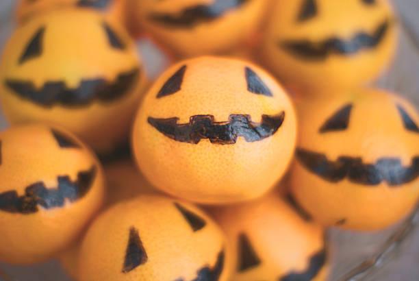 Manadarin Orange Jack 'O Lanterns stock photo
