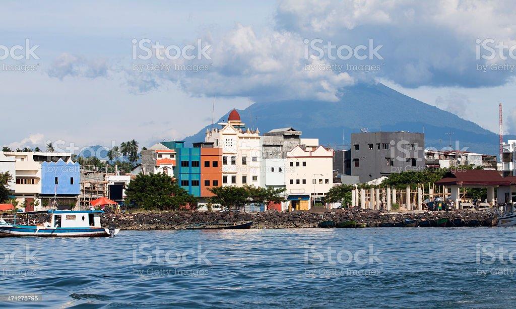 Manado city Harbour, Indonesia. stock photo
