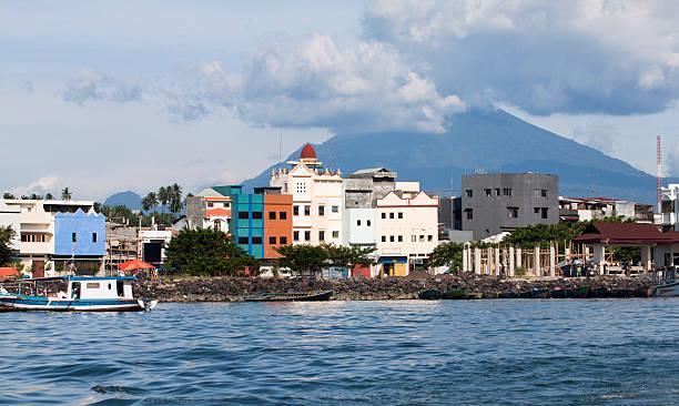 Manado city Harbour, Indonesia. Harbour of Manado city, Indonesia. The Volcano