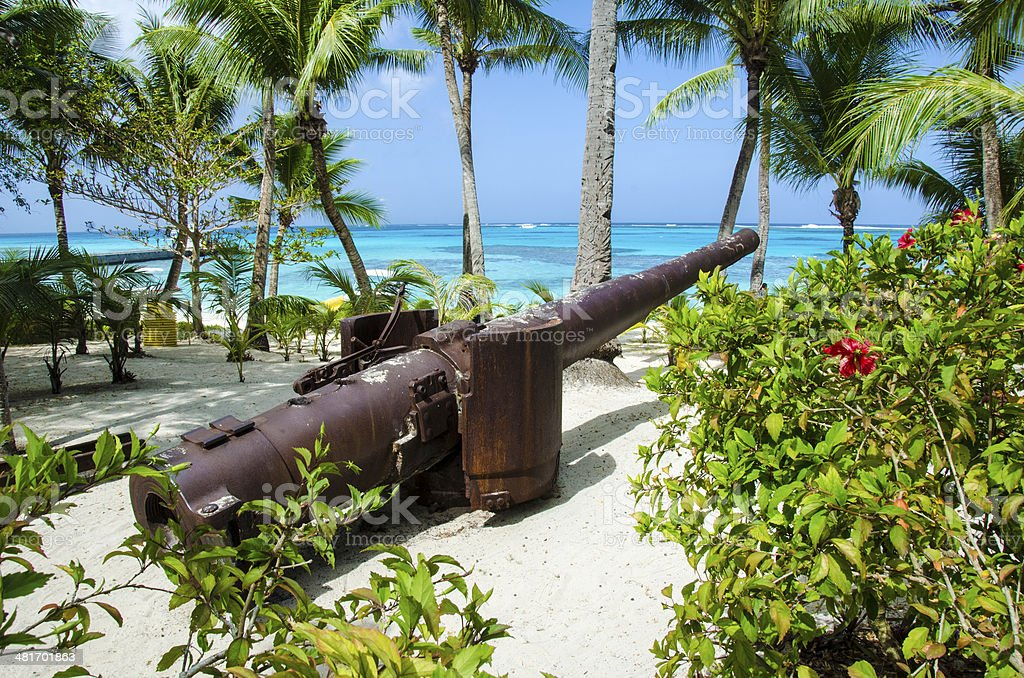 Managaha Beach Cannon stock photo