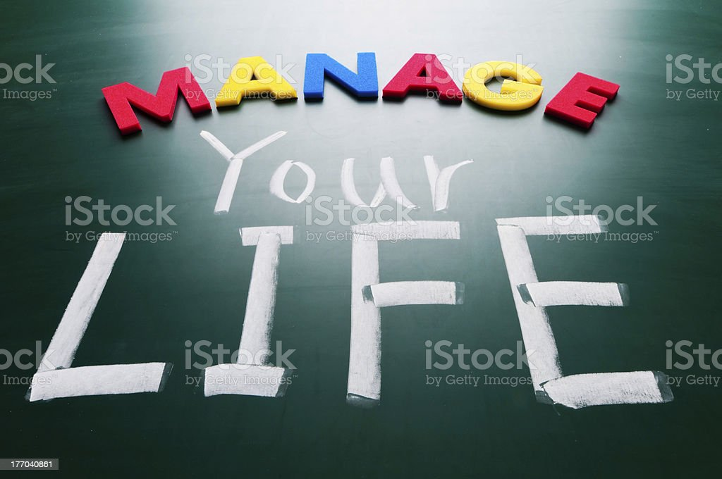 Manage your life, conceptual words on blackboard. royalty-free stock photo