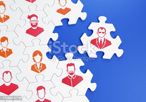 Composed together hexagonal pieces of a jigsaw puzzle with pictured pictograms of staff persons and one of them is outside of a group. 3D-rendering graphics on the theme of 'Business Management'.